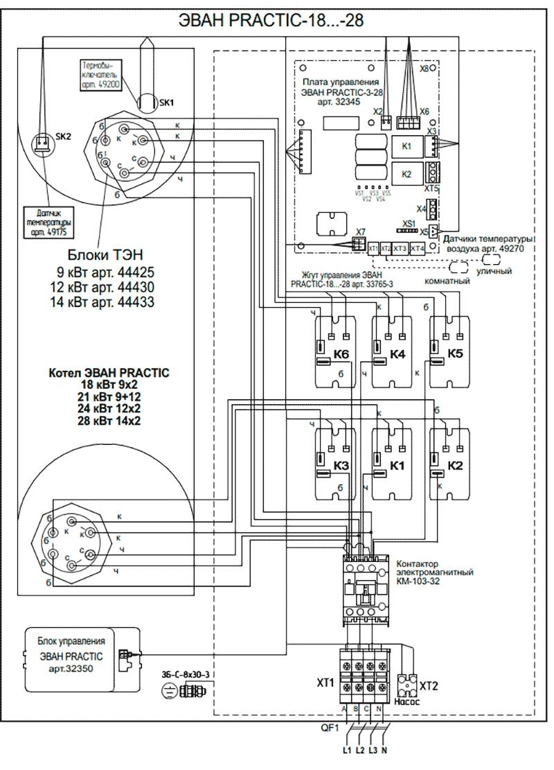 Схема подключения электрокотлов Эван PRACTIC 18…28