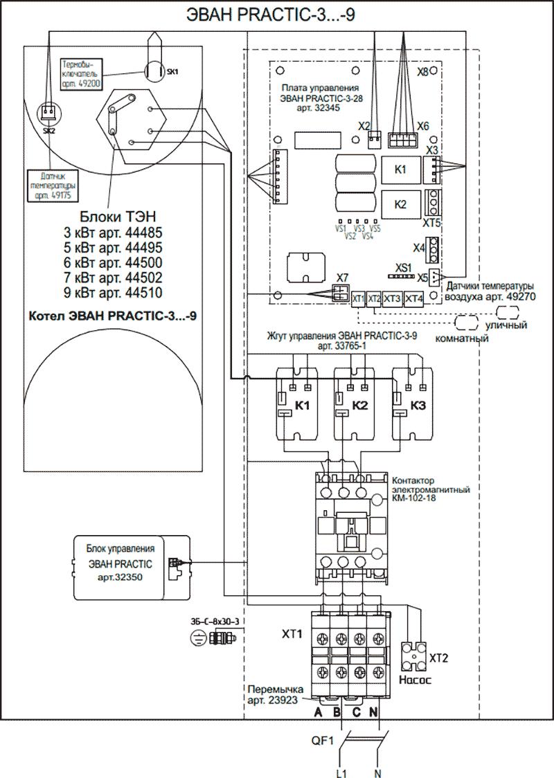 Схема подключения электрокотлов Эван PRACTIC 3...9 к сети 220 Вольт