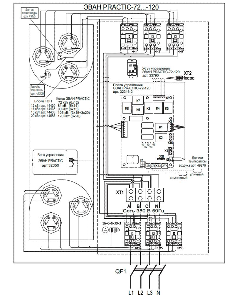 Схема подключения электрокотлов Эван PRACTIC 72…120