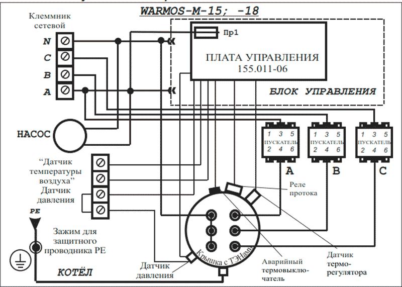 Схема подключения электрокотлов Warmos-M 15 и 18 к сети 380 Вольт