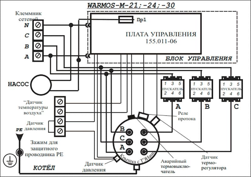 Схема подключения электрокотлов Warmos-M 21; 24 и 30 к сети 380 Вольт