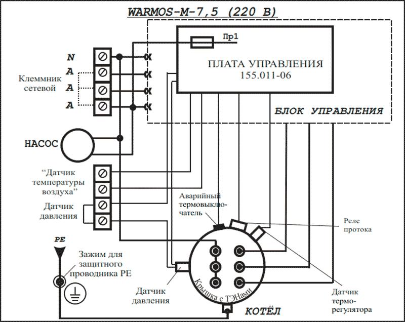 Схема подключения электрокотла Warmos-M 7,5 к сети 220 Вольт