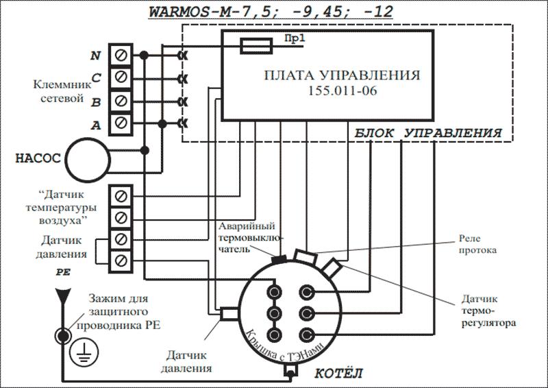 Схема подключения электрокотлов Warmos-M 7,5; 9,45 и 12 к сети 380 Вольт