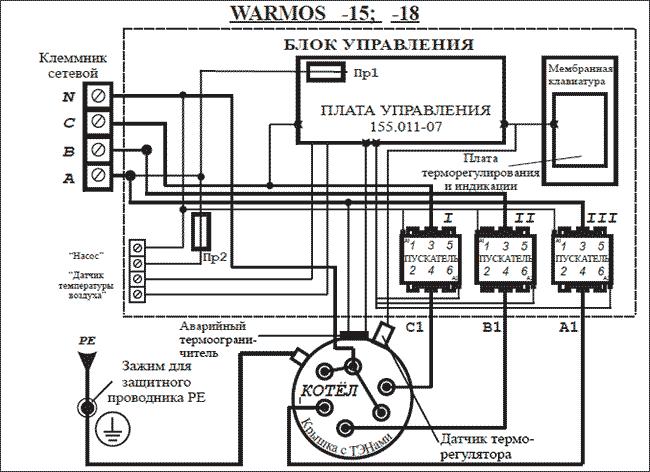 Схема подключения Эван WARMOS-IV 15
