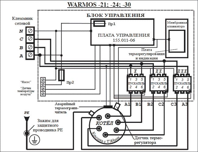 Схема подключения Эван WARMOS-IV 30