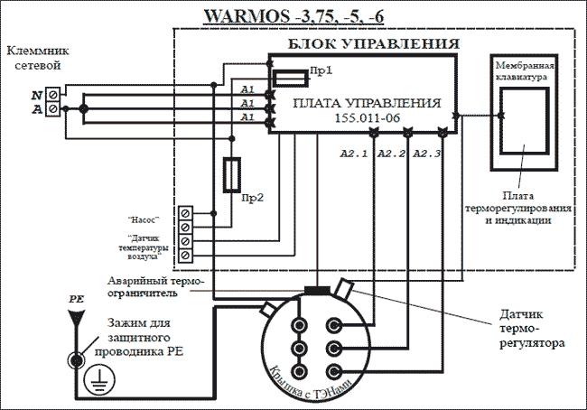 Схема подключения Эван WARMOS-IV 6