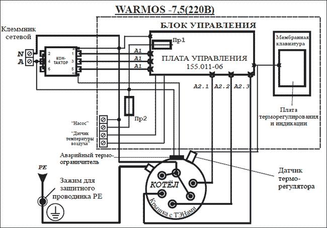 Схема подключения Эван WARMOS-IV 7,5 220