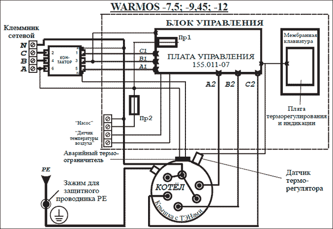 Схема подключения Эван WARMOS-IV 12