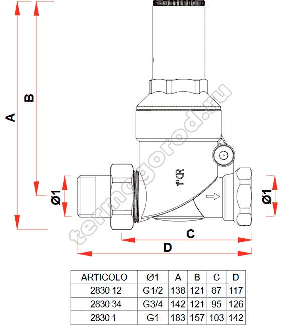 Габаритные и присоединительные размеры редуктора давления FAR 2830