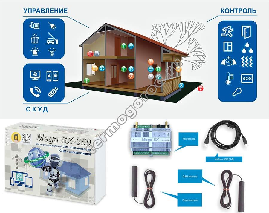 комплект поставки gsm сигнализации mega sx 350 light