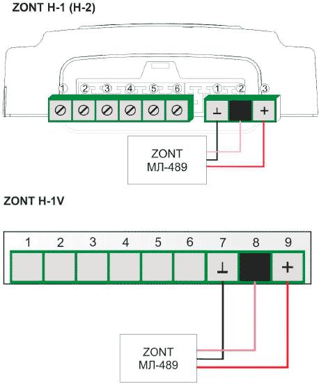 Подключение Zont МЛ-489 к термостатам Zont H-1 и H-1V