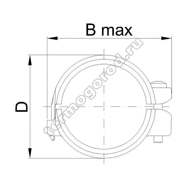 Габаритные и присоединительные размеры соединительного хомута ASV 01752