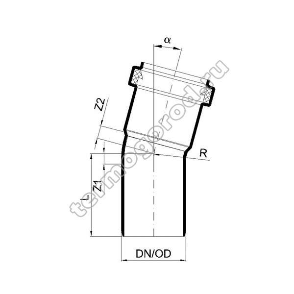 Габаритные и присоединительные размеры отвода PKB 02110