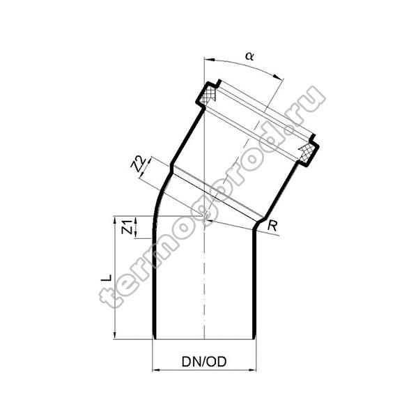 Габаритные и присоединительные размеры отвода PKB 02121