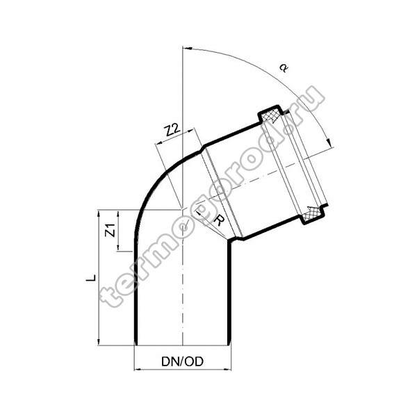 Габаритные и присоединительные размеры отвода PKB 02123