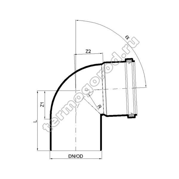 Габаритные и присоединительные размеры отвода PKB 02144