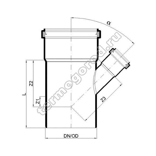 Габаритные и присоединительные размеры тройника PKEA 02204