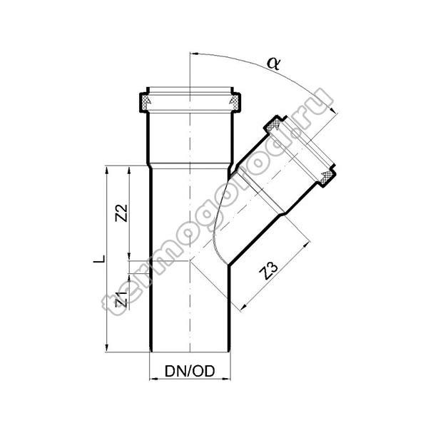 Габаритные и присоединительные размеры тройника PKEA 02212