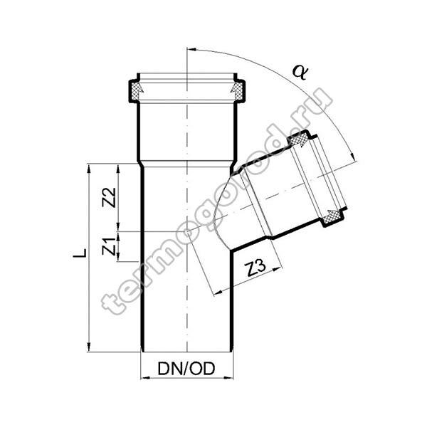 Габаритные и присоединительные размеры тройника PKEA 02213