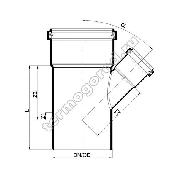 Габаритные и присоединительные размеры тройника PKEA 02224