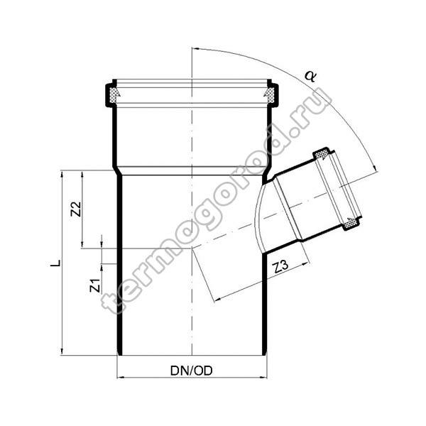 Габаритные и присоединительные размеры тройника PKEA 02225
