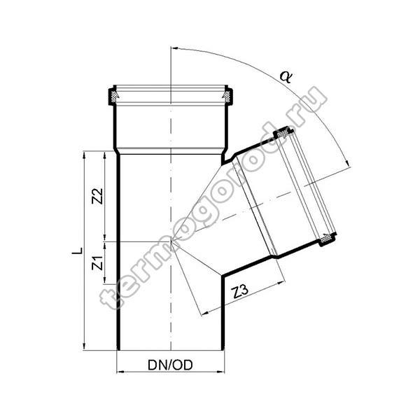 Габаритные и присоединительные размеры тройника PKEA 02231