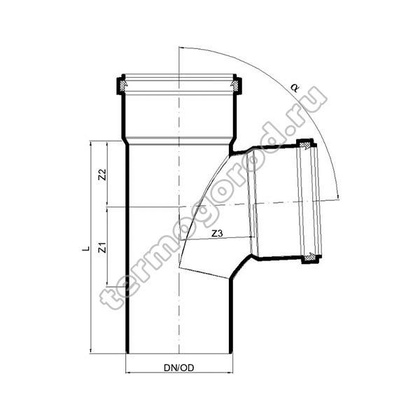 Габаритные и присоединительные размеры тройника PKEA 02232