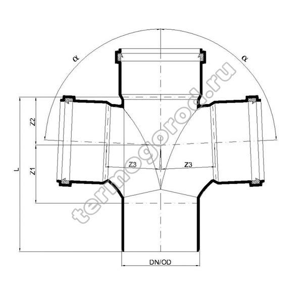 Габаритные и присоединительные размеры крестовины PKDA 02267