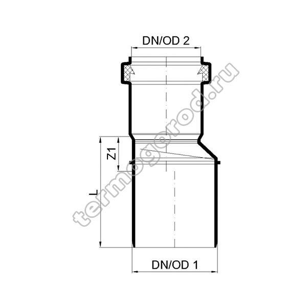 Габаритные и присоединительные размеры переходного патрубока PKR 02282