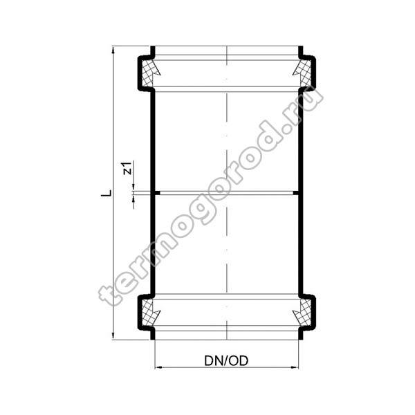 Габаритные и присоединительные размеры двухраструбной муфты PKD 02302