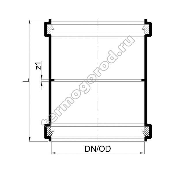 Габаритные и присоединительные размеры двухраструбной муфты PKD 02304
