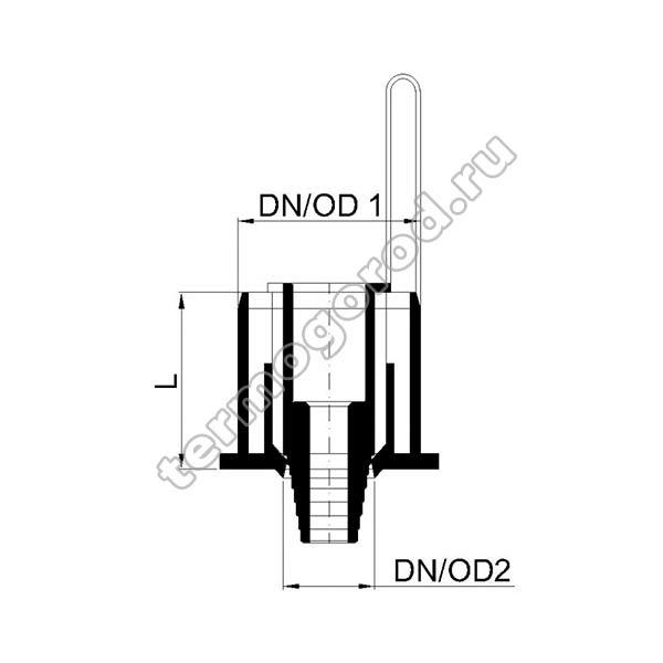 Габаритные и присоединительные размеры конденсатосборника PKKO 02357