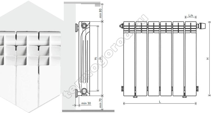 Схема установки алюминиевых радиаторов Корвет