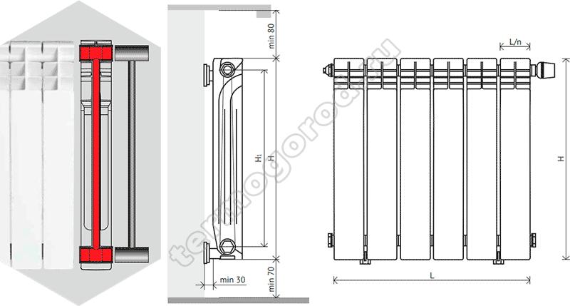 Схема установки биметаллических радиаторов Корвет