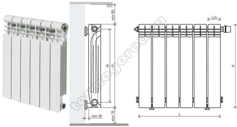 Схема установки алюминиевых радиаторов Фрегат