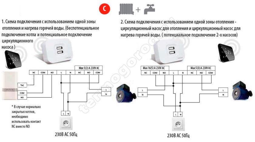 salus it500 одна зона отопления плюс ГВС схема