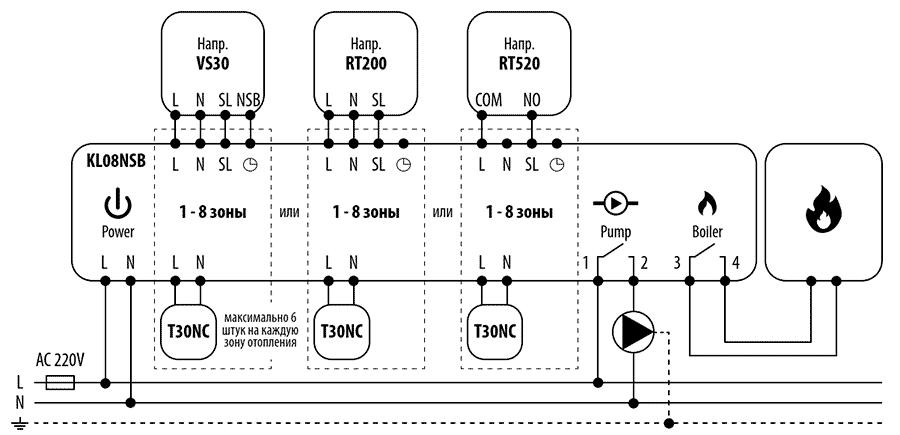 Схема подключения Salus KL08NSB
