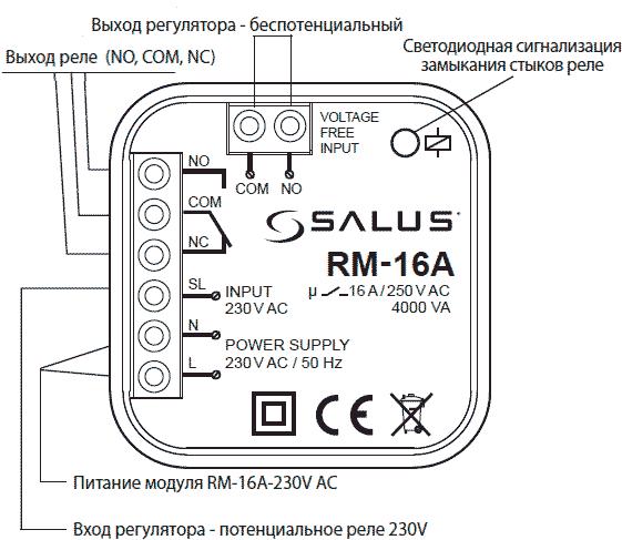 Salus RM-16A клеммы подключения
