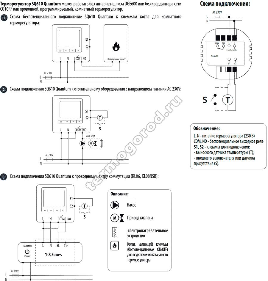 Схема подключения Salus SQ610