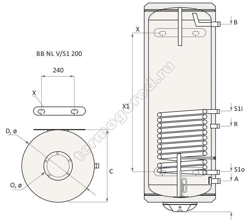 Габаритные и присоединительные размеры водонагревателя BB-N NL2 200 V/S1