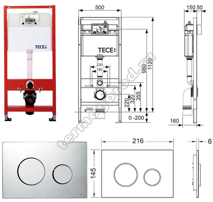 Габаритные и присоединительные размеры застенного модуля TECEbase K400600