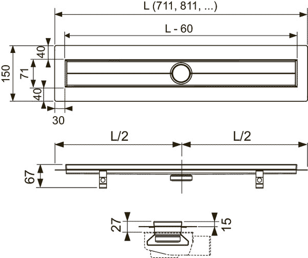Габаритные и присоединительные размеры душевого трапа TECE 600700