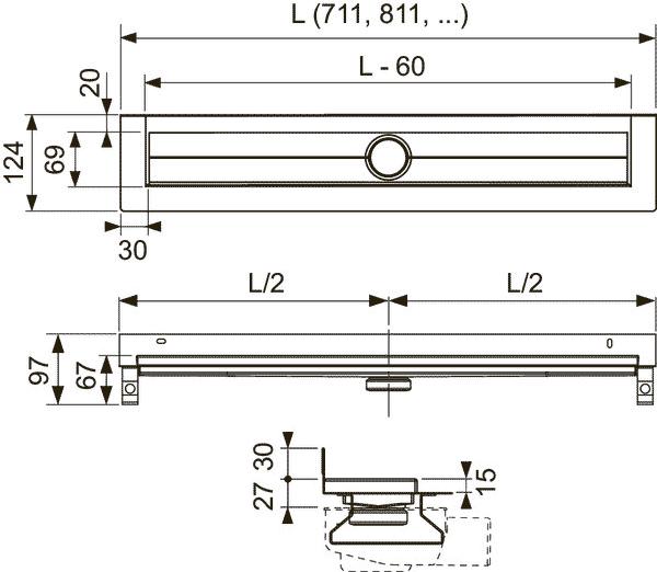Габаритные и присоединительные размеры душевого трапа TECE 601501