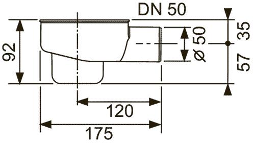 Габаритные и присоединительные размеры сифона 650001
