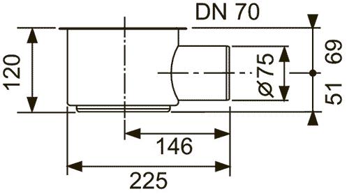 Габаритные и присоединительные размеры сифона 650002