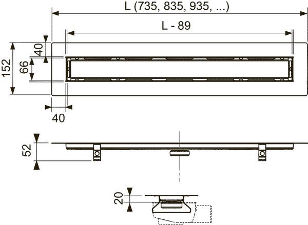 Габаритные и присоединительные размеры душевого трапа TECE 651000