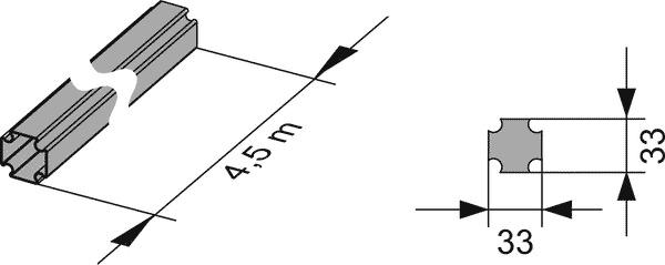 Геометрические размеры профиля TECEprofil 9000000