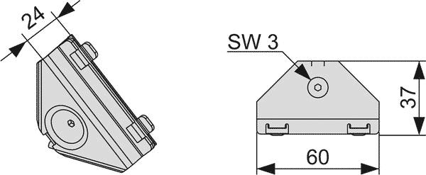 Геометрические размеры углового соединения TECEprofil 9010002