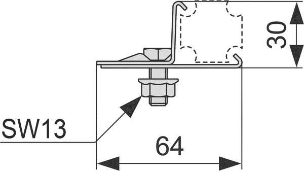 Геометрические размеры установочного элемента TECEprofil 9010003