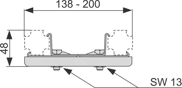 Геометрические размеры универсального соединения TECEprofil 9018002
